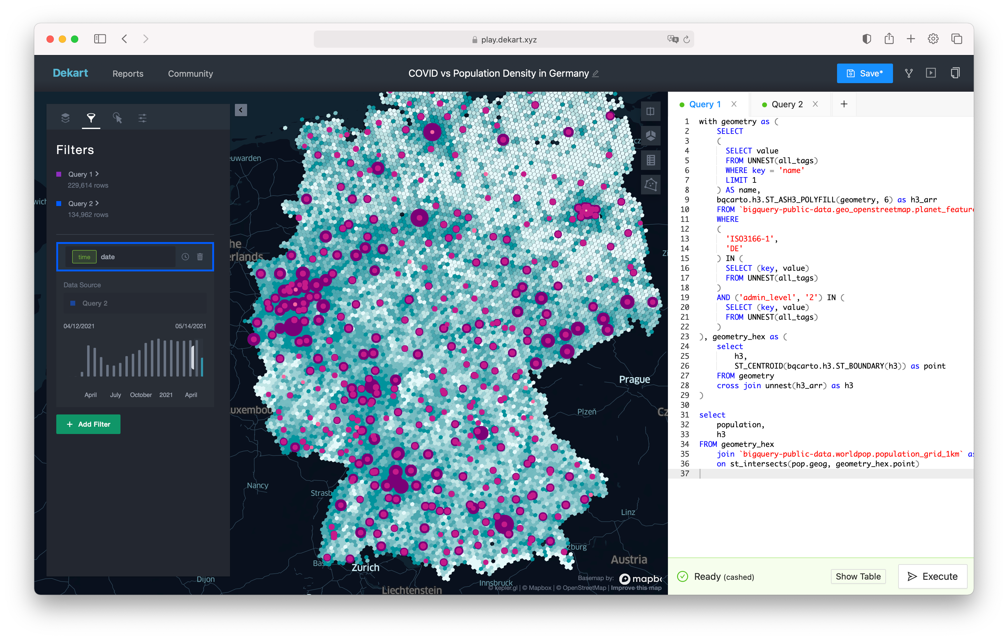 Dekart Example: COVID and Population Density Map in Germany using BigQuery Public Datasets